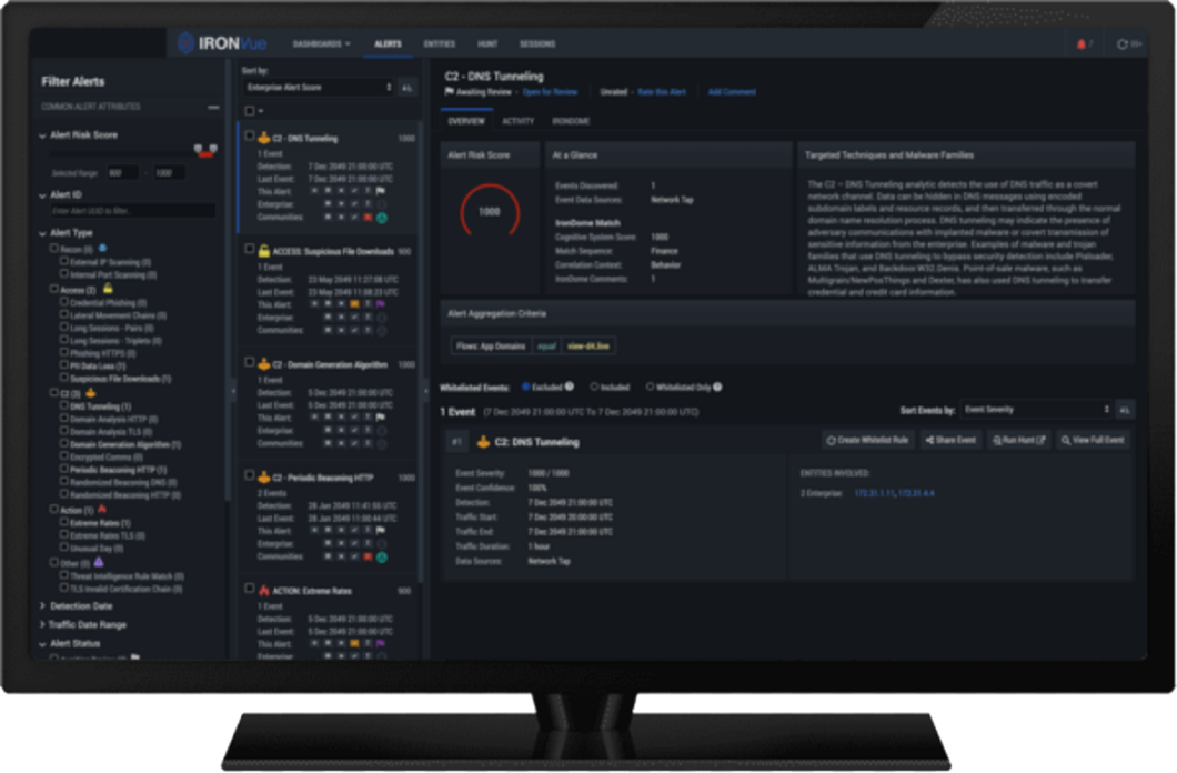 IronNet IronDefense Dashboard in Desktop
