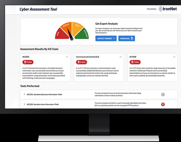 IronNet-Cyber Assessment Tool-Desktop Dashboard Screen-Desktop View